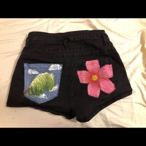 Refuge black Jean shorts with painted pockets